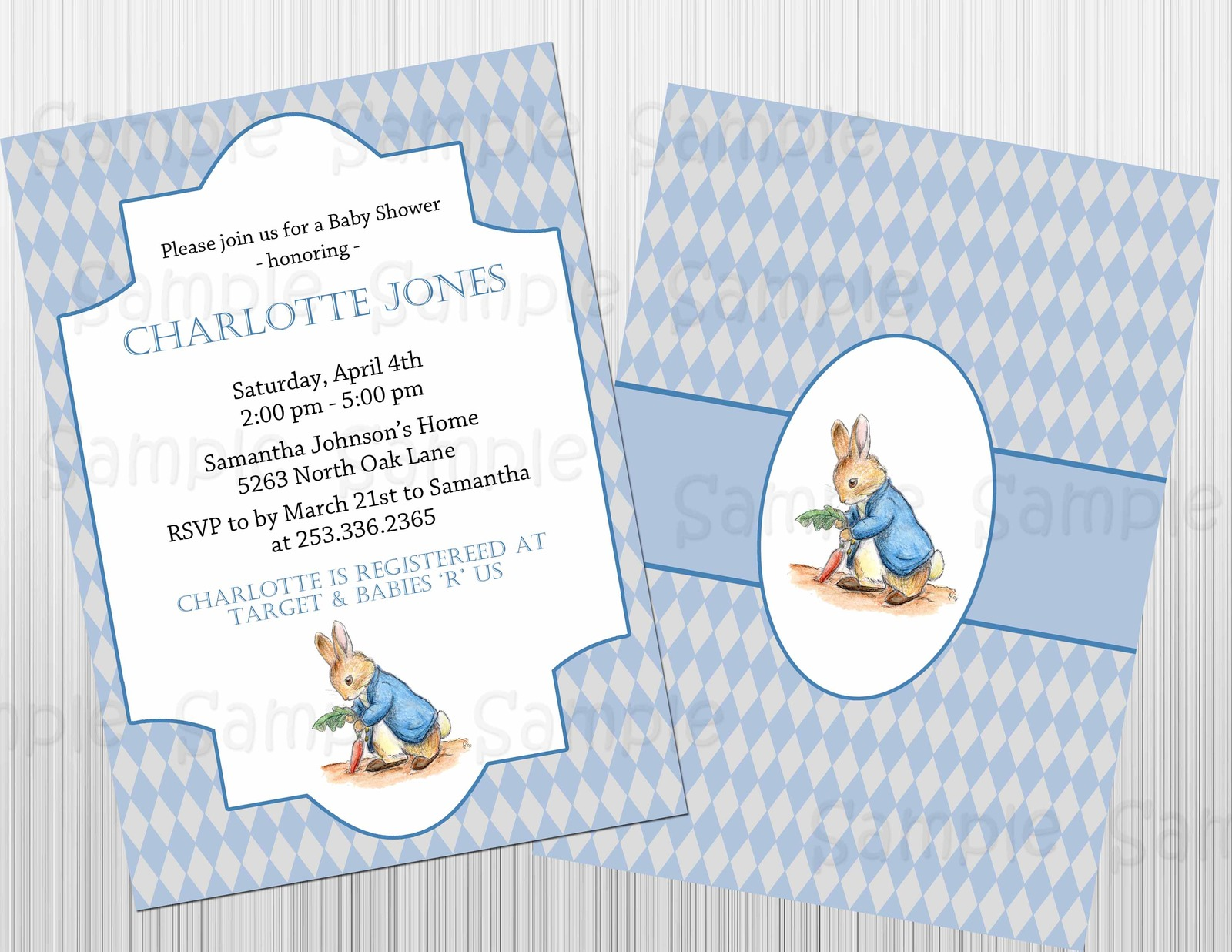 Peter rabbit birthday invitations custom and 47 similar items peter rabbit birthday invitations custom baby shower pink or blue filmwisefo