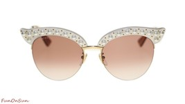 New Gucci Women Sunglasses GG0212S 003 White Gold Red Lens 53mm Authentic - $377.33