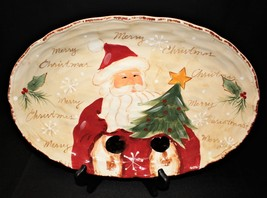 "Maxcera Woodland Santa Large 14.5"" Hand Painted Christmas Oval Serving P... - $35.00"
