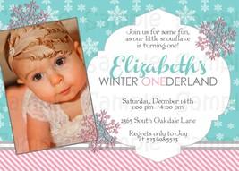 Winter Wonderland, 1st birthday, custom invitation, with photo, birthday - £0.56 GBP