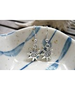 Antique Silver Double Sided The Eye Charm Earri... - $3.91