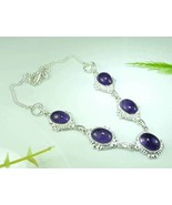 AMETHYST SILVER NECKLACE 16.75in 5 pendants 925... - $31.50