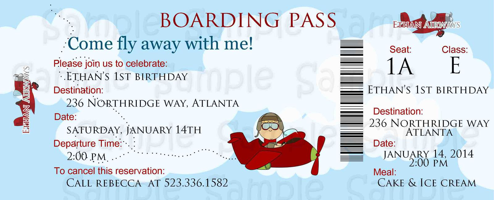 Airplane Boarding Pass Birthday or Baby and 50 similar items