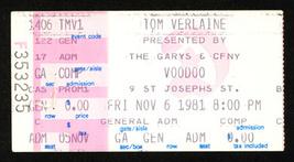 TOM VERLAINE '81 TORONTO Concert Ticket Stub TELEVISION punk - $14.99
