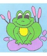 Lilypad Frog Crochet Graph Afghan Pattern - $5.00