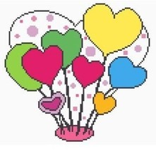 Heart Balloons Color Graph Afghan Pattern - $4.00