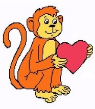 Monkey Love Color Graph Afghan Pattern - $5.00