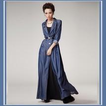 Vintage Big Lapel Blue Jean Denim Extra Length Dress Coat Jacket Button Up Front