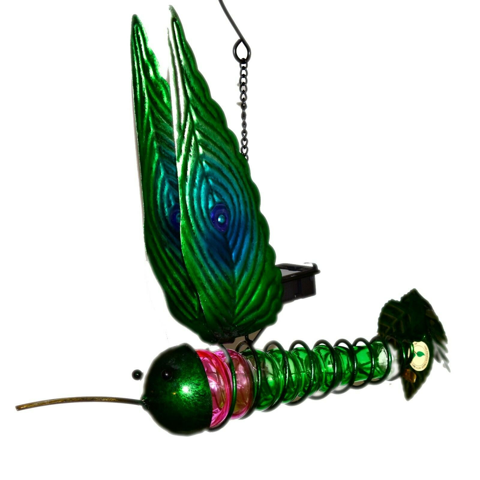 Painted Metal & Glass Solar Powered Light Garden Decoration Hummingbird Decor