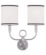 Wall Sconces 2 Light With White Linen Hard Back Oval Shape Brushed Nicke... - $102.42