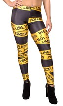 BadAssLeggings Women's Police Line Leggings Small Black - $16.82