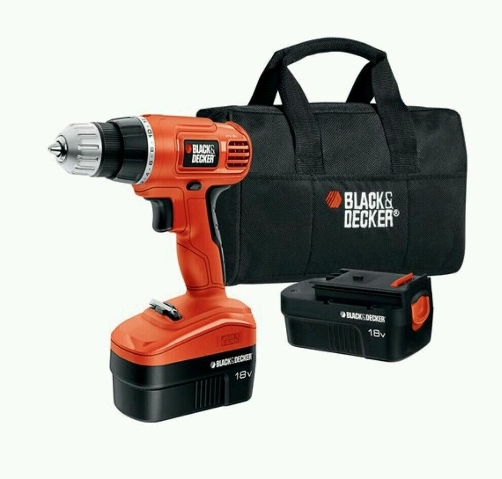 black and decker drill black amp decker 18v drill with 2 batteries amp storage bag 12616