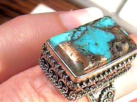 Natural turquoise 925 Sterling Silver Ring 6 LONG COMPLEX rectangle gold... - £33.04 GBP