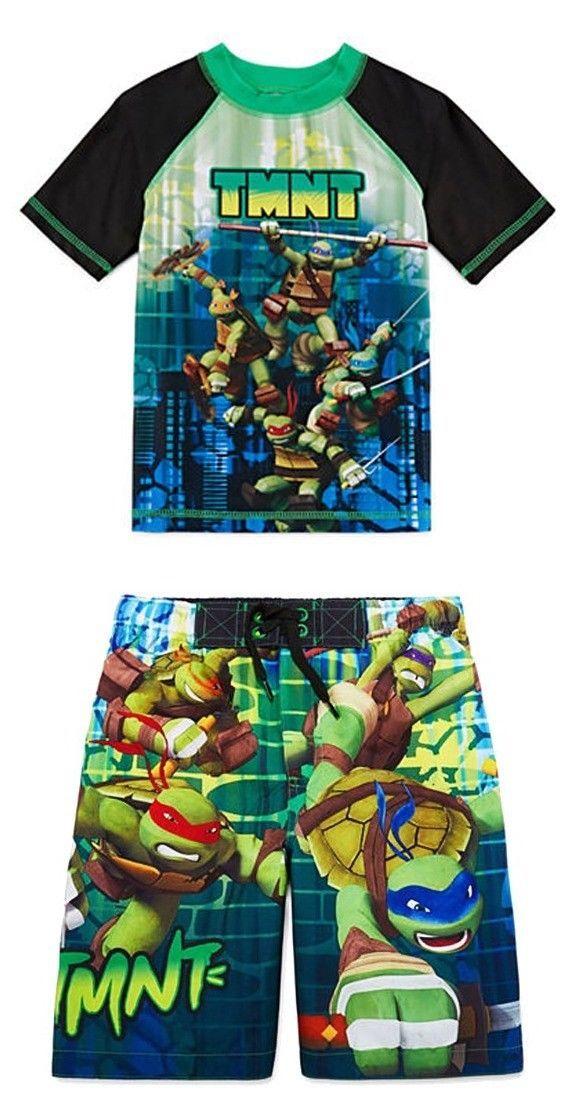 34734f929ebb0 NINJA TURTLES UPF-50+ Rash Guard & Bathing Suit Swim Trunks NWT Boys Size 4  $56 - $29.98