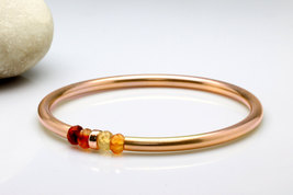 Rose gold bracelet,rose gold filled bangle,pink gold bracelet,gemstone b... - $79.00+