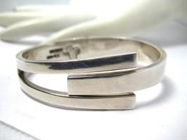 Vintage Modernist Sterling Silver Hinged Cuff Bracelet 925 Mexico JRZ 55.1 grams - $329.00
