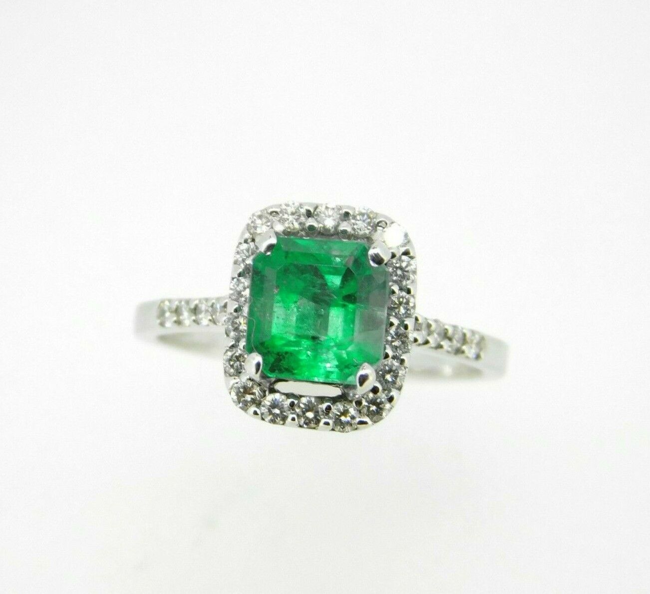 Primary image for 18k Gold 1 1/2 Carat Genuine Natural Emerald and Diamond Halo Ring (#J5055)