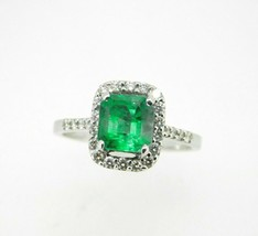 18k Gold 1 1/2 Carat Genuine Natural Emerald and Diamond Halo Ring (#J5055) - $1,211.25