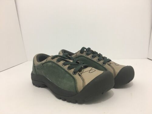 Keen Briggs Green Tan Leather Women's Lace Up Comfort Walking Shoes Size 5 M
