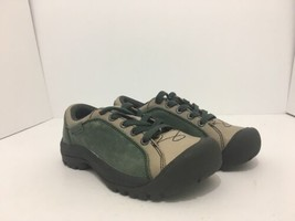 Keen Briggs Green Tan Leather Women's Lace Up Comfort Walking Shoes Size... - $51.96