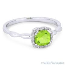 0.64 ct Cushion Cut Peridot Gemstone & Diamond Halo 14k White Gold Promise Ring - €256,27 EUR