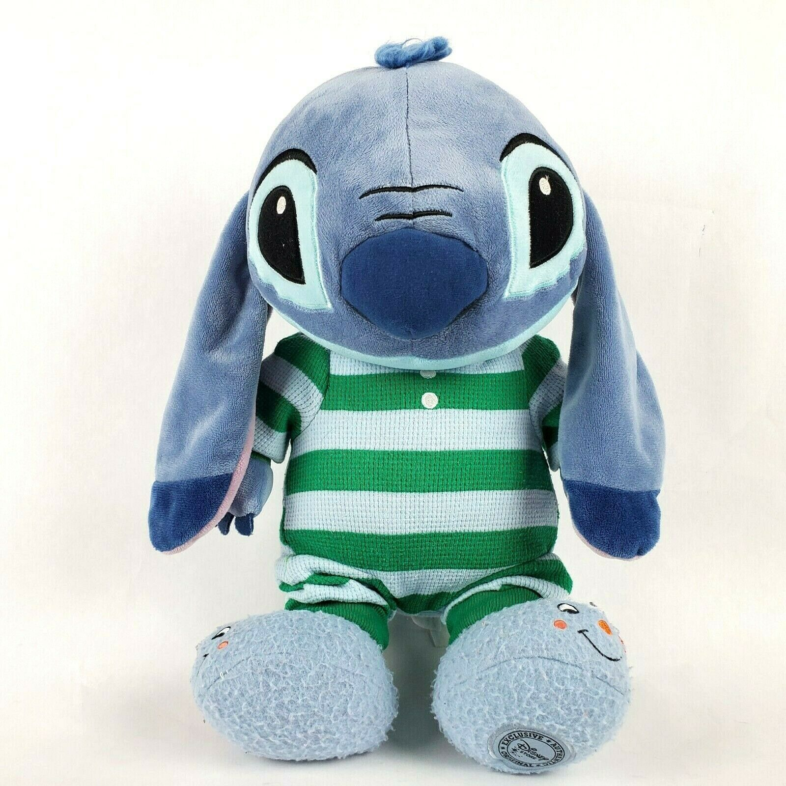 "Primary image for Disney Store Lilo & Stitch 14"" Plush Alien Doll Striped Pajamas Slippers Toy"