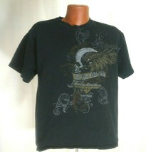 Harley Davidson Cafe Las Vegas Mens Live Hard Ride Easy Black Skull Tshi... - $49.49
