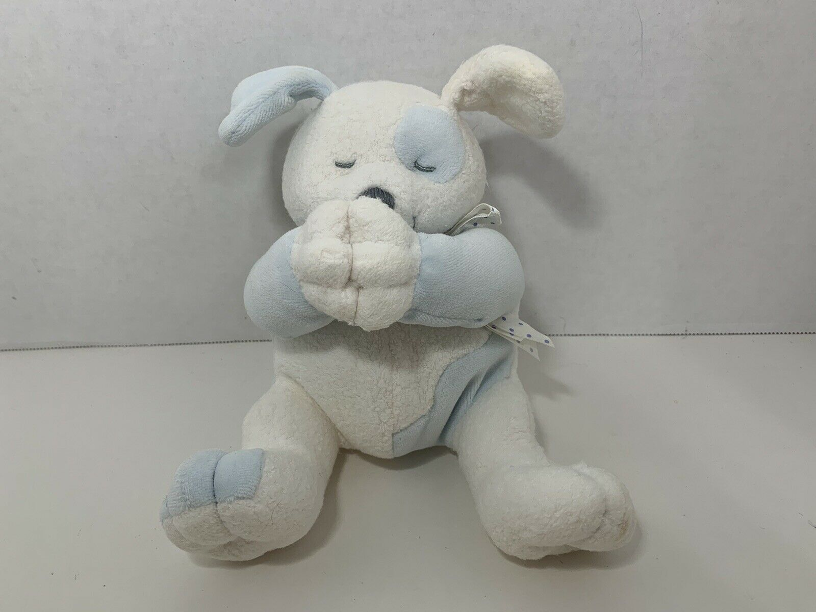 Kids II 2 praying white blue puppy dog baby toy polka dot bow SPOTS NO SOUND - $19.79