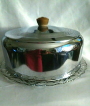 Vintage Cut Glass and Stainless Steel Cake Keep, Snowflake Design, Mid C... - $35.00