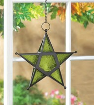Hanging Star Candle Lanterns w/ Green Press Glass Use Indoors or Outdoors - $23.95