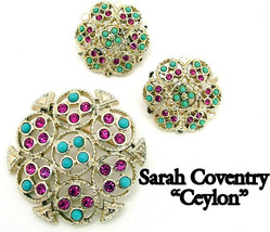 Sarah Coventry Brooch & Earrings Set CEYLON Faux Turquoise & Fuschia Rhi... - $18.95