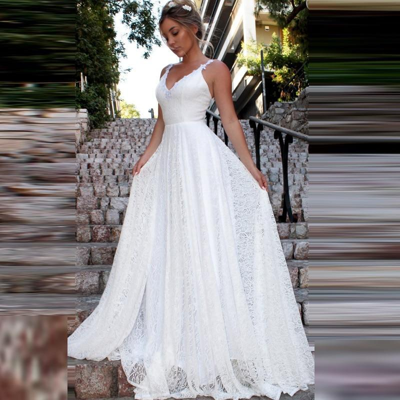 2020 sexy spaghetti strips a line wedding dresses full lace bridal gowns criss cross back beach