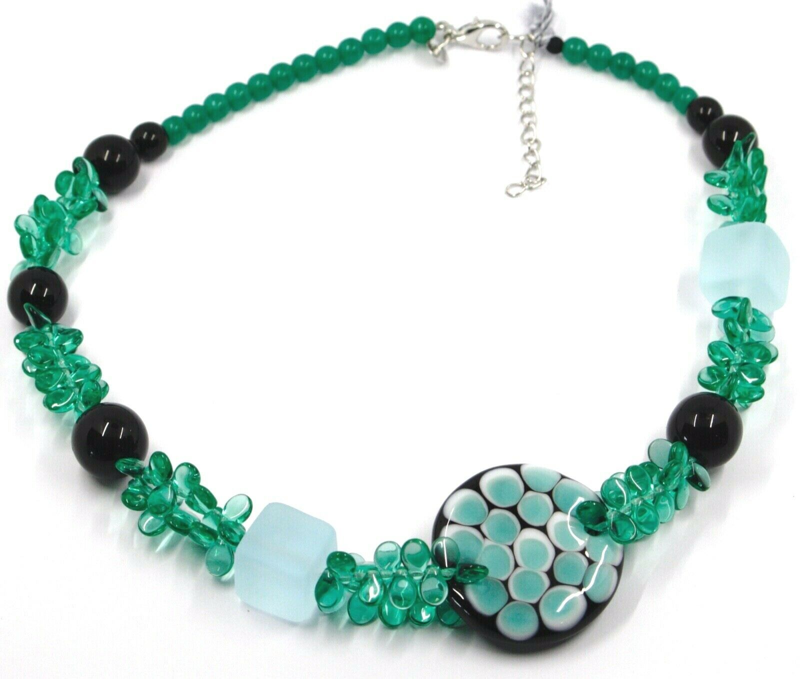 NECKLACE GREEN BLACK MURANO GLASS BUNCH OF PETAL DROPS SQUARE DISC ITALY MADE