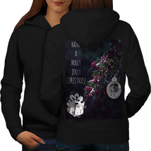 Holly Jolly Christmas Sweatshirt Hoody Mistletoe Women Hoodie Back - $21.99+