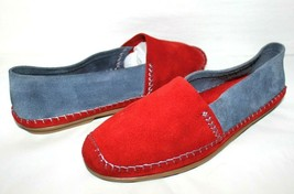 ❤️JACQUES LEVINE Spain Red Blue Suede Leather Moccasin Flats 8 M GREAT! ... - $27.54