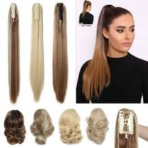 Real Thick Claw Ponytail Hair Piece Clip in Hair Extensions As Human Hair image 9