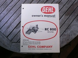 Gehl RC800 Recutter Owner Operator Manual Start Up Guide Book Instructions - $50.00