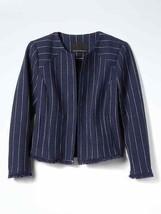 Banana Republic Stripe Collarless Boucle Jacket Cotton Blend Navy Size 1... - $116.99
