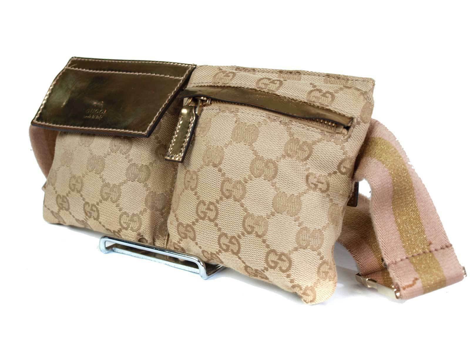 5a14afea1 Authentic Gucci GG Pattern Canvas Leather Browns Waist Belt Bag GW1808 -  $349.00