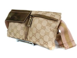 Authentic Gucci GG Pattern Canvas Leather Browns Waist Belt Bag GW1808 - $349.00
