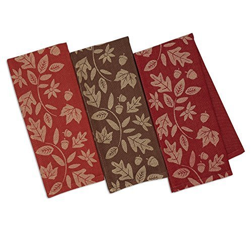 DII Design Imports Fall Harvest Vine Soft Cotton Jacquard Kitchen Dish Towels Se