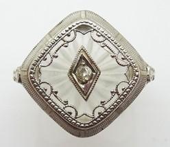 14k Gold Filigree Deco Genuine Natural Quartz Ring with Diamond (#C3473) - $446.25