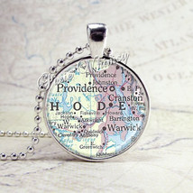 RHODE ISLAND PROVIDENCE Map Pendant, Rhode Island Necklace, Vintage Rhod... - $9.95