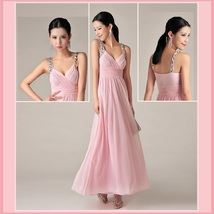 Sweet Princess Silk Chiffon Gauze Diamond Beaded Straps Prom Evening Gown - $172.95