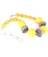 Yellow Resin and Silver plated Copper One of a Kind Hand Crafted Choker ... - $99.00