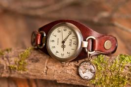 Brown leather watch, vintage map watch, vintage map wrist watch, brass watch, la - $32.50
