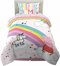 Kids Peppa Pig Bedding Twin Size Soft Reversible Comforter Sheets 4-Piec... - $97.35