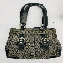 Coach Authentic Womens Jacquard/Brown Leather  Canvas 2 strap Handbag E0... - $30.64