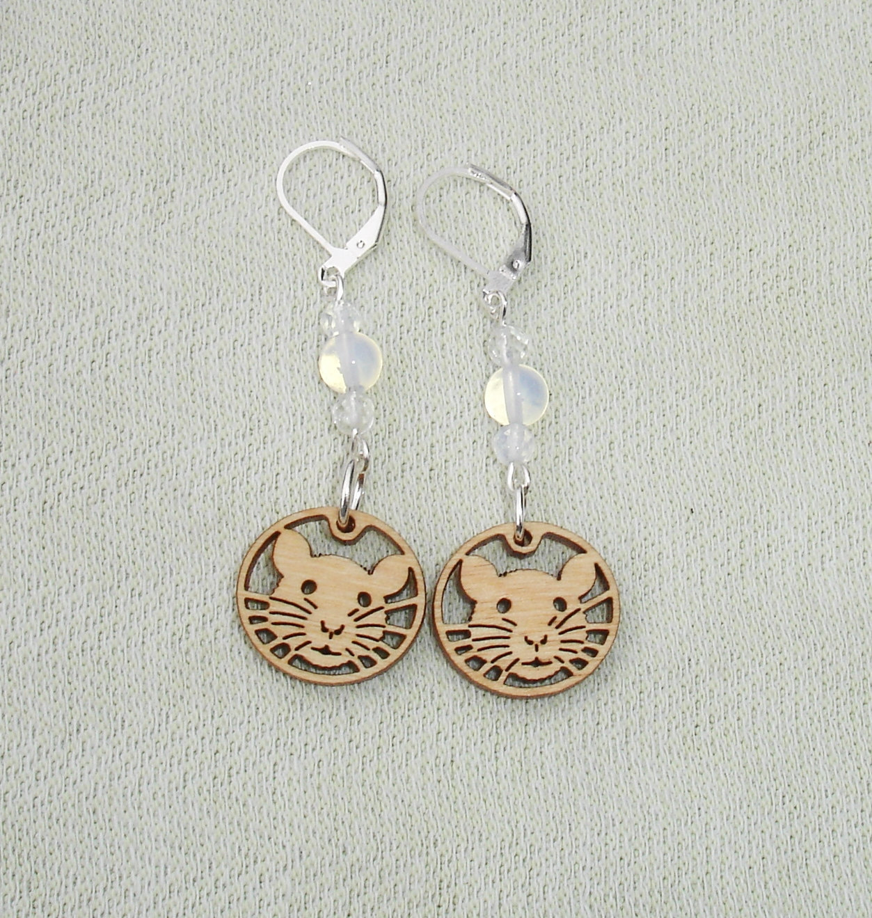 Cute Rat, Moonstone Gemstone Dangle Earrings with leverbacks - Rat LOVERS