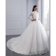 High Neck IIIusion Back Long Sleeve Wedding Dress Lace Ball Gown Wedding Gowns image 2